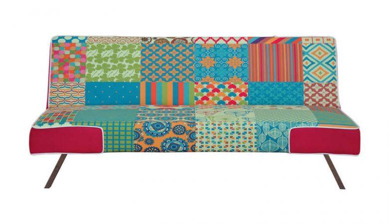 clic-clac Conforama 3 places en tissu patchwork