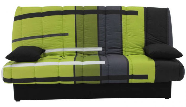 clic-clac conforama vert avec matelas de 13 cm d'épaisseur